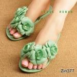 รองเท้าแตะแฟชั่น สุดน่ารัก ยางซิลิโคนนิ่มอย่างดี แบบหนีบแต่งช่อดอกไม้ 3 ดอกใหญ่น่ารัก ใส่ชิลๆ เก๋ๆ ได้ทุกวัน สีเขียว ชมพู (ZIN377)