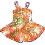 ชุดว่ายน้ำ สีส้ม-เขียว ลายดอกไม้ 7T