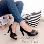 รองเท้าคัทชู สีดำ ส้นสูง เปิดนิ้ว สวยคลาสสิค วัสดุหนังนิ่ม ซับในกำมะหยี่ใส่ ไม่เจ็บเท้า แบบเรียบๆ ที่สามารถมิกแอนด์แมทซ์กับเสื้อผ้าได้อย่างสวยลงตัว ทุกชุด สูง 3.5 นิ้ว (99877)