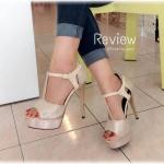 """รองเท้าส้นสูงแบบรัดส้น สวยโดดเด่น ใส่แล้วดูเพรียวมากๆ ด้วยความสูง 5"""" หน้าสูง 1.5"""" สายรัดแบบเกี่ยวปรับระดับได้ เดินง่าย ไม่เมื่อยเท้า จะใส่ออก งานหรือใส่เที่ยวคู่เดียว สวยเริ่ด"""