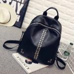 """กระเป๋าเป้ korea fashion backpack แบบ super black ตอกอะไหล่เงินสุดเทห์ หนังนิ่มน่าใช้ ด้านหลังมีช่องซิปลับใส่ของได้ สีดำ Size 12"""""""