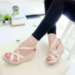 """รองเท้าแฟชั่น ส้นเตารีด ดีไซน์สุดเก๋ หน้าสาน ทรงสวยเก็บหน้าเท้าเรียว ซิปหลังใส่ง่าย งานสวยมาก หนัง pu ส้นโอ่ง น้ำหนักเบา ใส่สบาย สูง 3"""""""