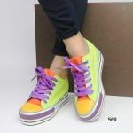 รองเท้าผ้าใบแฟชั่น สีหวาน สดใส รูปทรงเพรียวกระชับ ตัดเย็บอย่างดี สไตล์ หวานปนเท่ห์ สวมง่ายใส่สบาย เสริมส้นด้านในยิ่งทำให้ดูผอมเพรียว สูงหน้า 4 ซม. , ส้นสูง 8 ซม.
