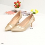 รองเท้าคัชชู สีทอง ปลายแหลม ดีไซน์เรียบหรู เก็บหน้าเท้าเรียว ส้นสูง 2 นิ้ว น้ำหนักเบา ใส่สบายแมทได้สวยทุกชุด