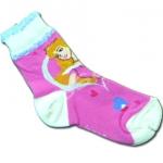 ถุงเท้า สีชมพู-ขาว ลาย Cinderella 18CM