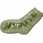 ถุงเท้า สีเขียว ลายพรางทหาร 14CM