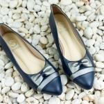 รองเท้าคัทชู ส้นแบน หัวแหลม สวยหรู หนัง PU แต่งโบว์น่ารัก ทรงเก็บเท้าใส่แล้วเท้าดูเรียว พื้นบุนุ่ม ใส่สบาย ได้ทุกโอกาส สีดำ ครีม น้ำเงิน กากี ขาว