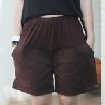 กางเกงคนท้อง กางเกงคลุมท้อง ขาสั้น สีน้ำตาลเข็ม