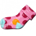 ถุงเท้า สีชมพู-แดง-ส้ม ลายจุด 12CM
