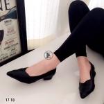 รองเท้าคัทชู Style zara วัสดุหนังนิ่ม ทรงหน้า V ดีไซน์ชั้นไขว้สวยเก๋ ส้นหนา 2 นิ้ว ส้นตันเดินง่าย แบบสวยใส่ได้กับเสื้อผ้าทุกชุด สีดำ ครีม แดง แทน