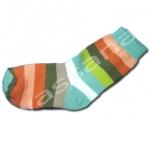 ถุงเท้า สีขาว-เขียว-น้ำตาล-ชมพู ลายขวาง 12CM