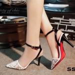 รองเท้าคัทชู ส้นเข็มเปิดส้น ทรงหัวแหลม งานนำเข้า วัสดุผ้าลูกไม้ซีทรู กุ๊นขอบ หนังนิ่ม สายรัดข้อปรับได้ สูง 3.5 นิ้ว แมทกับชุดไหนก็ง่าย สวยเซ็กซี่ ใส่ออกงาน ใส่ปาร์ตี้ก็เริส! สะดุดทุกสายตา
