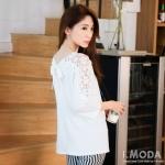 [พรีออเดอร์] เสื้อแฟชั่น Orange Bear แขนยาวลูกไม้ คอกลม เก๋ น่ารัก - [Preorder] Women ฺHitz Korean version Orange Bear of Round Neck Lace Long-Sleeved Shirt