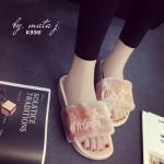 รองเท้าแตะ ลำลอง สุดเก๋น่ารัก แบบสวมแต่งขนเฟอร์นุ่มปักลาย งานก็อป แบรนด์ Puma สุดฮิต งานสวย พื้นยางผสม pu ยืดหยุ่นเบาใส่สบาย แมทเก๋ ใส่ชิลได้ทุกวัน สีดำ เทา ชมพู (K335)