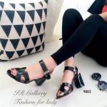 รองเท้าแฟชั่น ส้นสูง Style Hermes วัสดุหนังเงานิ่มคุณภาพดี แต่งสายรัดข้อ ตะขอเกี่ยวปรับได้ ส้นเหลี่ยมสูง 3 นิ้ว สามารถเติมเต็มได้ทุกลุคของสาวๆ สีดำ ครีม (9003)