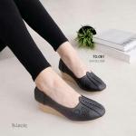 """รองเท้าคัทชูหนังนิ่ม เพื่อสุขภาพ ส้นเตารีด ดีไซน์เรียบเก๋ ปักลายผีเสื้อดอกไม้น่ารัก หน้าเรียว ใส่สวย อินดี้ แมชได้ทุกชุด สูง 2"""" สีดำ ครีม แทน ชมพู"""