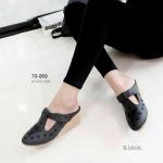 """รองเท้าคัทชู เปิดส้น ส้นเตารีด หนังนิ่ม ปักลายผีเสื้อสวยหวาน ด้านบนแปะเมจิกเทป นิ่มเบาใส่สบาย ปักฝีเข็มแน่น งานคัทติ้งสวย มี 4 สีดำ ครีม แทน ชมพู สูง 2"""""""