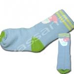 ถุงเท้า สีฟ้า-เขียว ลายลูกหมา 12CM