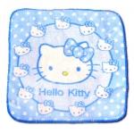 ผ้าเช็ดหน้า สีฟ้า ลาย Hello Kitty