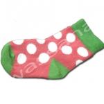 ถุงเท้า สีชมพู-ขาว-เขียว ลายจุด 9CM