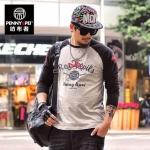 พรีออเดอร์ เสื้อยืด ไซส์ 2XL - 6XL แฟชั่นเกาหลีสำหรับผู้ชายไซส์ใหญ่ แขนยาว เก๋ เท่ห์ - Preorder Large Size Men 2XL - 6XL Korean Hitz Long-sleeved T-Shirt
