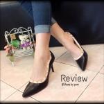 รองเท้าคัทชู ส้นสูง Valentino Style สวยหรู ใส่แล้วดูไฮ แต่งหมุดขอบรอบ ตามสไตล์ Valentino แมทช์กับชุดไหนก็ดูดี สีดำ ครีม