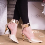 รองเท้าคัชชู ส้นสูง แต่งแถบทองที่สายรัดข้อ สวยเรียบหรู เก็บหน้าเท้าเรียว ส้นสีทองสูง 3 นิ้ว น้ำหนักเบา ใส่สบายแมทได้สวยทุกชุด