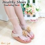 รองเท้าแตะแฟชั่น สวยน่่ารัก แบบหนีบ แต่งดอกไม้ด้านหน้า พื้นซอฟ คอมฟอตสไตล์ฟิตฟลอบ ใส่สวย สบาย สไตล์ชิลๆ