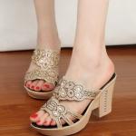 รองเท้าแฟชั่น แต่งฉลุลายด้านหน้าสวยหรูไฮโซ ส้นสูง 9 cm เสริมหน้า 3 cm ใส่สบาย