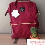 กระเป๋าเป้ Anello Canvas Wine (Standard) สีนี้ฮิตมากๆ!!! ผ้าโพลีเอสเตอร์แคนวาส กันน้ำ