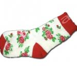 ถุงเท้า สีขาว-แดง ลายดอกกุหลาบ 12CM