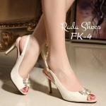รองเท้าคัทชู ส้นสูง style korea แบบมาใหม่ งานนำเข้า สวย ดูดี หนังแก้ว ปักอะไหล่โบว์สีทอง ด้านหน้าประดับเพชรรูปโบว์ งานดี ส้นเข็มสายรัดหลัง ส้นสูงกำลังดี 3 นิ้ว