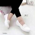 รองเท้าคัทชูสีขาว สไตล์ TODs ทรง loafer สวยเก๋ ดูขาวสว่าง พื้นนิ่มหนัง PU ทรงสวม ดีเทลส้นโค้งมน ใส่สบายไม่แข็ง ใส่กับชุดพยาบาล ใส่ลำลอง แมชง่ายได้ทุกชุด สูง 1.5 นิ้ว (380-17)