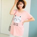 เสื้อคลุมท้องเปิดให้นมได้สีชมพูส้มสกรีนรูปแมวสีขาว