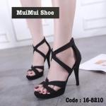 รองเท้าส้นสูง สวยหรูปราดเปรียว หนังผ้าสวยนิ่ม ดีไซน์ไขว้ ดูเท้าเรียวสวย ซิปหลังใส่ง่าย เสริมส้นหน้า 1 นิ้ว ส้นเข็ม 4.5 นิ้ว ดูดี ใส่สวยมาก