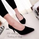 รองเท้าคัทชู ส้นสูง หนังกลิตเตอร์เนื้อทรายสวยหรูเป็นประกาย นิ่มมาก ูทรงสวยเพรียว ส้นสูง 3.5 นิ้ว ดูดี แมทสวยได้ทุกชุด ทุกโอกาส