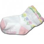 ถุงเท้า สีขาว-ชมพู ลายดอกไม้ 9CM