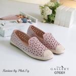 รองเท้าคัทชู ส้นแบน ลายฉลุดอกไม้ ทรง slip on สวยน่ารัก แต่งเชือกปอด้าน หน้าเก๋ๆ หนังนิ่ม ทรงสวย สวมใส่ง่าย เดินเบาสบาย สีครีม ชมพู