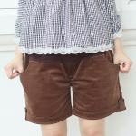 กางเกงคนท้อง กางเกงคลุมท้อง ขาสั้น ผ้าลูกฟูก สีน้ำตาล Choco