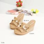 รองเท้าแฟชั่น แบบสวม ดีไซน์ไขว้ แต่งแถบทองสวยหรู ส้นสูง 3.5 นิ้ว เสริมหน้า พื้นบุนุ่ม ใส่สบาย