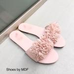รองเท้าแตะแฟชั่นเกาหลี แบบสวมแต่งพู่เต็มด้านหน้าสวยเก๋น่ารัก ใส่ง่าย ไปกับคุณได้ทุกที่