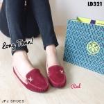 รองเท้าแฟชั่น ทรง Loafer Velvet LV Style บุกำมะหยี่ ตัดสีขอบทูโทน สวยเก๋ แต่งโลโก้ LV ทอง พื้นบุนุ่ม ใส่สบาย แมทได้ทุกชุด