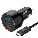 Aukey Quick Charge 3.0 USB Car Charger Adapter 3 Ports พร้อม Micro USB Cable (Black)