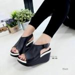 """รองเท้าส้นเตารีด สไตล์ปราด้า ทรงสวยเก๋ หนังนิ่มมาก รัดข้อ แบบแปะเมจิกเทป เสริมพื้น สูง 3"""" เสริมหน้า เก็บหน้าเท้า สวยง่าย ใส่สบาย"""