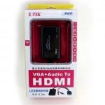 ZTECH Z-Tek ZE577 กล่องแปลงสัญญาณ VGA to HDMI แปลงสัญญาณภาพและเสียง (สีดำ)