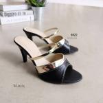 """รองเท้าแฟชั่น ส้นสูง สวยหรูคาดทอง ทรงสวม เก็บหน้าเท้า ใส่ง่าย แมทได้ทุกชุด สูง 3"""" สีดำ ทอง เงิน"""