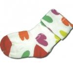 ถุงเท้า สีขาว-เขียว-ส้ม-แดง-เหลือง ลายหัวใจ 12CM