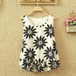 พรีออเดอร์ เสื้อแฟชั่นเกาหลี ลายดอกทานตะวัน ผ้าชีฟองแขนกุด - Preorder Women Korean Hitz Summer Chiffon Blouse Loose Vest Sunflowers Printed Sleeveless Chiffon Shirt