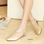 รองเท้าคัทชูแฟชั่น ส้นแบน สวยเก๋ รุ่นฮิตขายดี วัสดุหนัง PU แต่งแถบ Y ด้าน หน้าให้ดูเท้าเรียว น้ำหนักเบา เก็บหน้าเท้า แมทได้ทุกชุด สีดำ ทอง น้ำตาล เทา (FL390535)