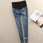 กางเกงคลุมท้องยีนส์ขายาวฟอก เย็บแต่งขอบ